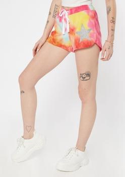 tie dye glitter star dolphin shorts - Main Image
