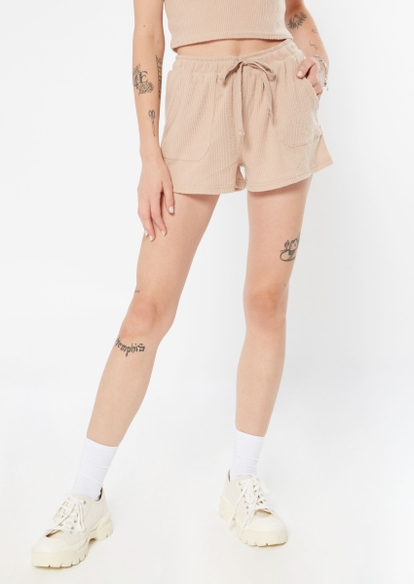 taupe brushed hacci knit shorts - Main Image