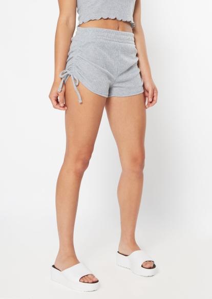 heather gray hacci drawstring ruched side shorts - Main Image