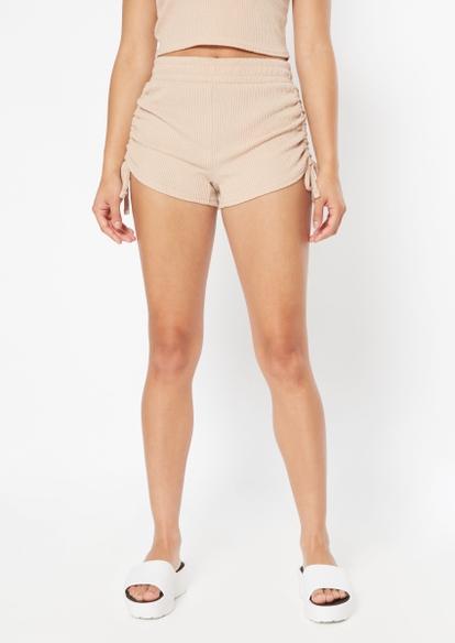 taupe hacci drawstring ruched side shorts - Main Image