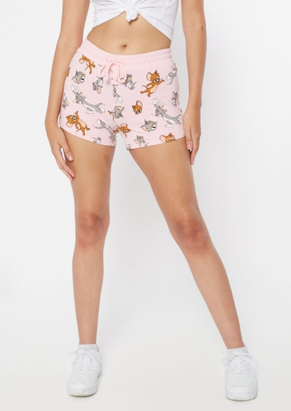 pink tom and jerry print sweat shorts - Main Image