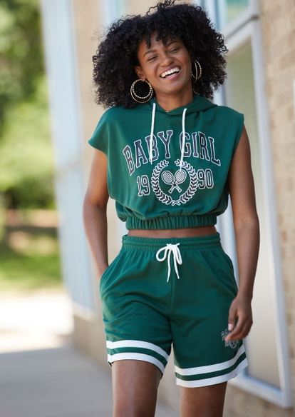 green baby girl embroidered french terry basketball shorts - Main Image