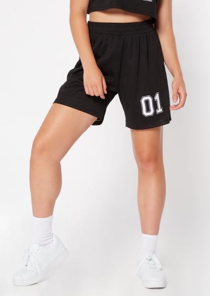 black 01 graphic basketball shorts - Main Image