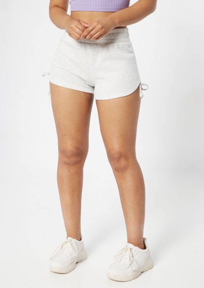 heather gray ruched fleece shorts - Main Image