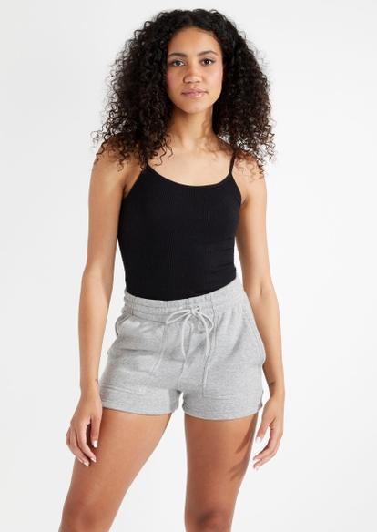 gray fleece sweat shorts - Main Image