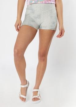 gray tie dye honeycomb shorts - Main Image
