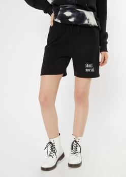 black anti social embroidered long sweat shorts - Main Image