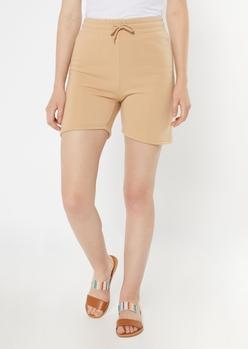 tan longline fleece active shorts - Main Image