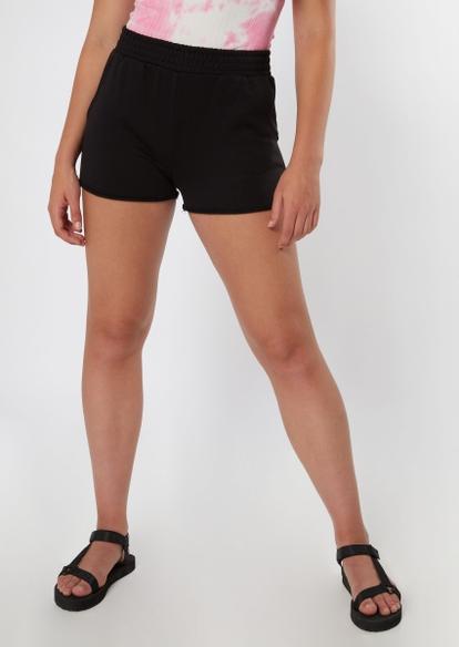 black raw cut knit shorts - Main Image