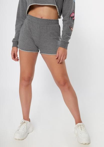 charcoal gray raw cut knit shorts - Main Image
