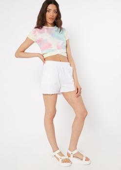 white raw cut knit shorts - Main Image
