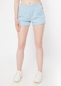 light blue raw cut knit shorts - Main Image