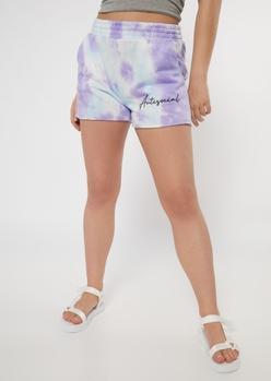 purple tie dye antisocial raw cut knit shorts - Main Image