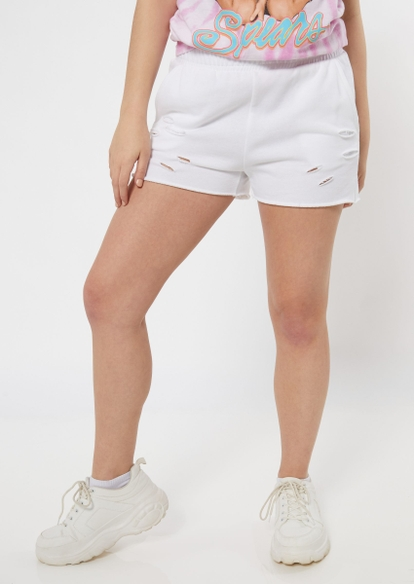 white destroyed raw cut knit shorts - Main Image