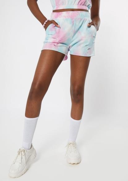 pastel tie dye distressed knit shorts - Main Image