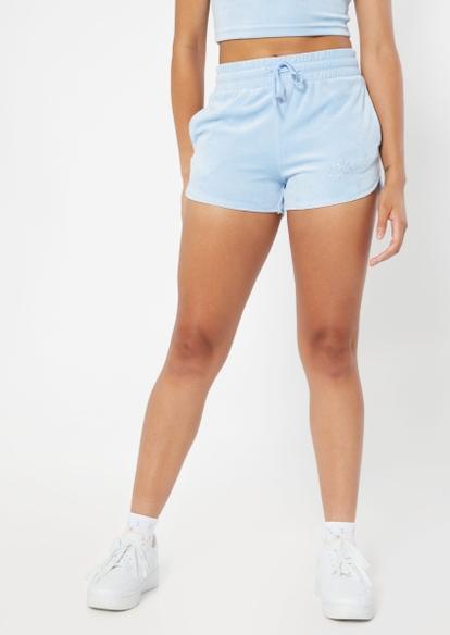light blue spoiled rhinestone velour shorts - Main Image