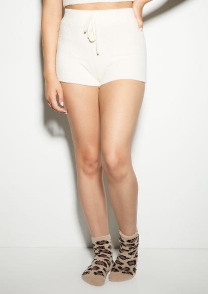 ivory cozy teddy shorts - Main Image