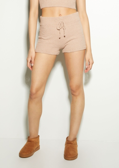 taupe cozy teddy shorts - Main Image