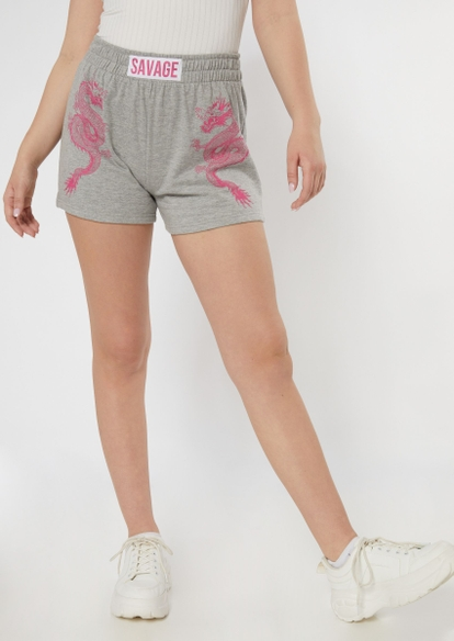 heather gray savage dragon print shorts - Main Image