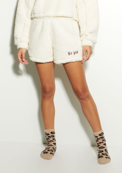 cream sherpa be you butterfly shorts - Main Image