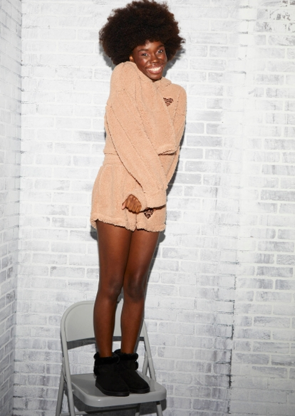 brown sherpa forever love shorts - Main Image
