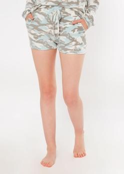 blue butterfly camo print hacci knit lounge shorts - Main Image