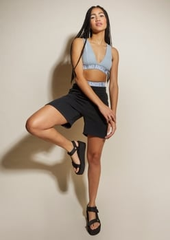 black fleece long sweat shorts - Main Image