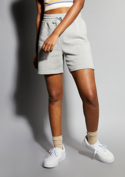 heather gray fleece long sweat shorts - Main Image