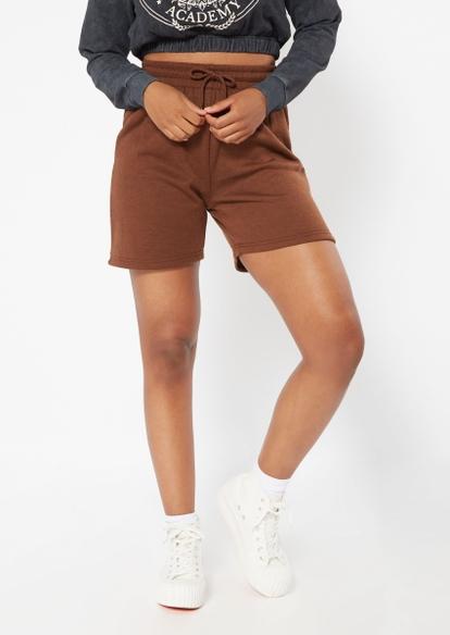 brown fleece long sweat shorts - Main Image
