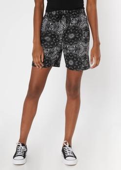 black bandana graphic long sweat shorts - Main Image