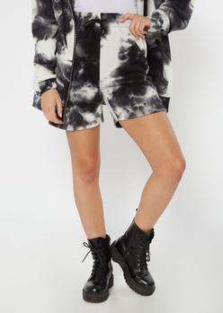 black tie dye long sweat shorts - Main Image