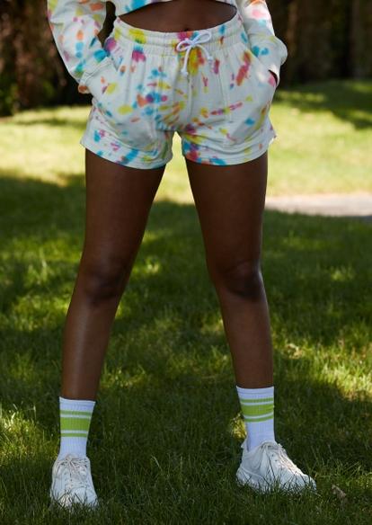 pastel tie dye swirl sweat shorts - Main Image