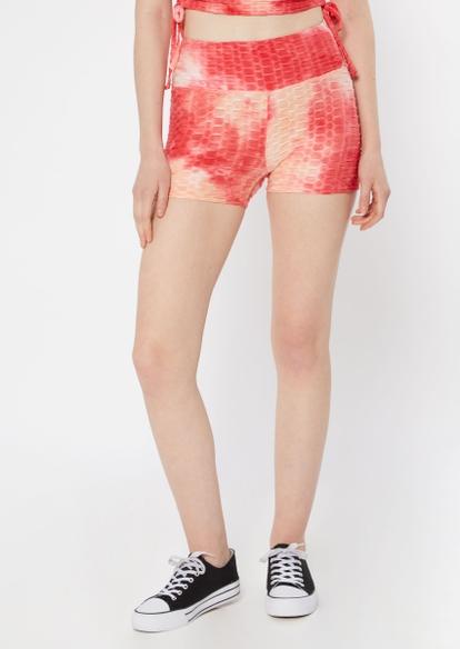 red tie dye honeycomb shorts - Main Image