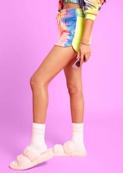 bright tie dye velour dolphin hem shorts - Main Image