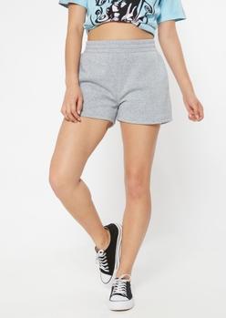 gray ruched waist fleece shorts - Main Image