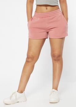 dusty pink sweat shorts - Main Image