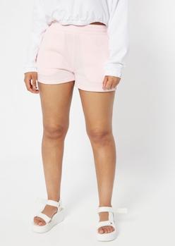 light pink sweat shorts - Main Image