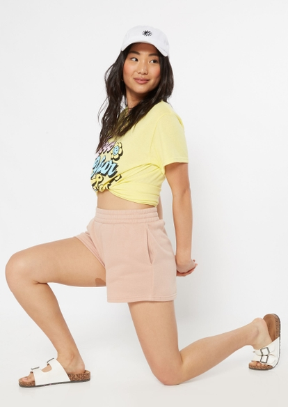 taupe ruched waist fleece shorts - Main Image