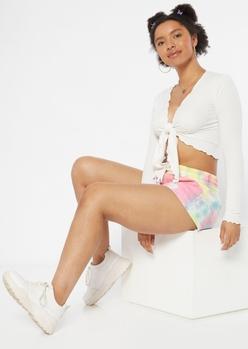 pastel tie dye sweat shorts - Main Image