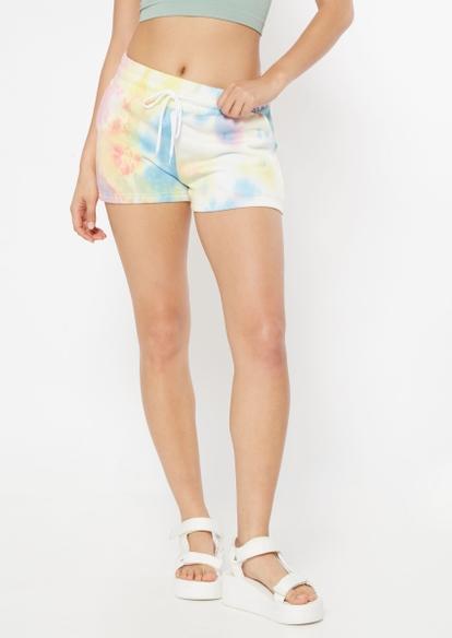 bright tie dye fleece shorts - Main Image