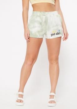 green tie dye good vibes graphic sweat shorts - Main Image