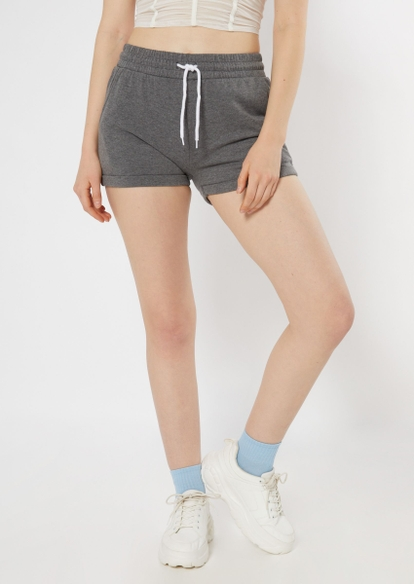 charcoal gray cuffed knit shorts - Main Image