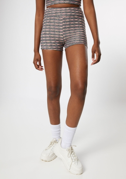 charcoal space dye ruched honeycomb shorts - Main Image