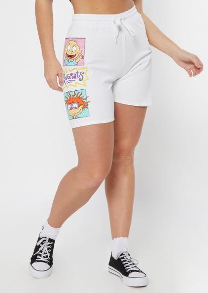 white rugrats crew graphic fleece shorts - Main Image