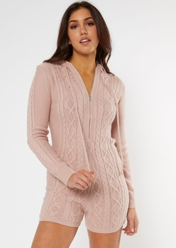 pink cable knit romper - Main Image