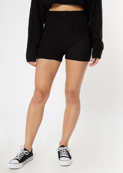 black cable knit sweater shorts - Main Image