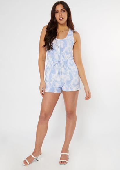 blue tie dye super soft henley romper - Main Image