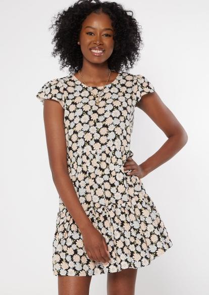 black daisy tie back babydoll dress - Main Image