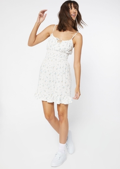 ivory floral print smock waist ruffle trim babydoll dress - Main Image