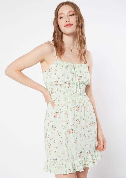 mint floral print smock waist ruffle trim babydoll dress - Main Image
